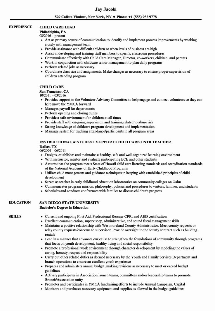 Child care resume examples lovely child care resume