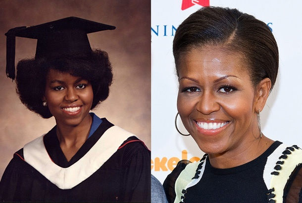 Michelle Obama, Salutatorian, Graduation Pose at Whitney Young High School in Chicago (1981) and Michelle Obama Today