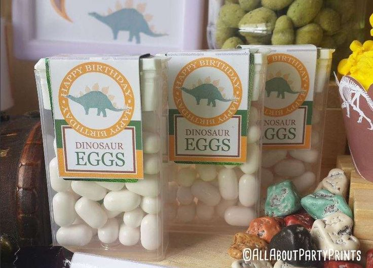 Tic Tac candies at a dinosaur party birthday party! See more party ideas at CatchMyParty.com!