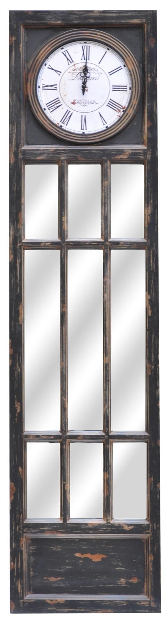 Mirrored Wood Panel with Clock from the Crestview Collection