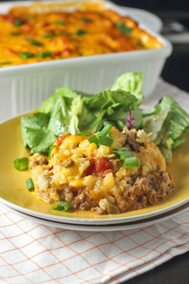Cheeseburger Tater Tot Casserole - use GF flour to make the cheese sauce.
