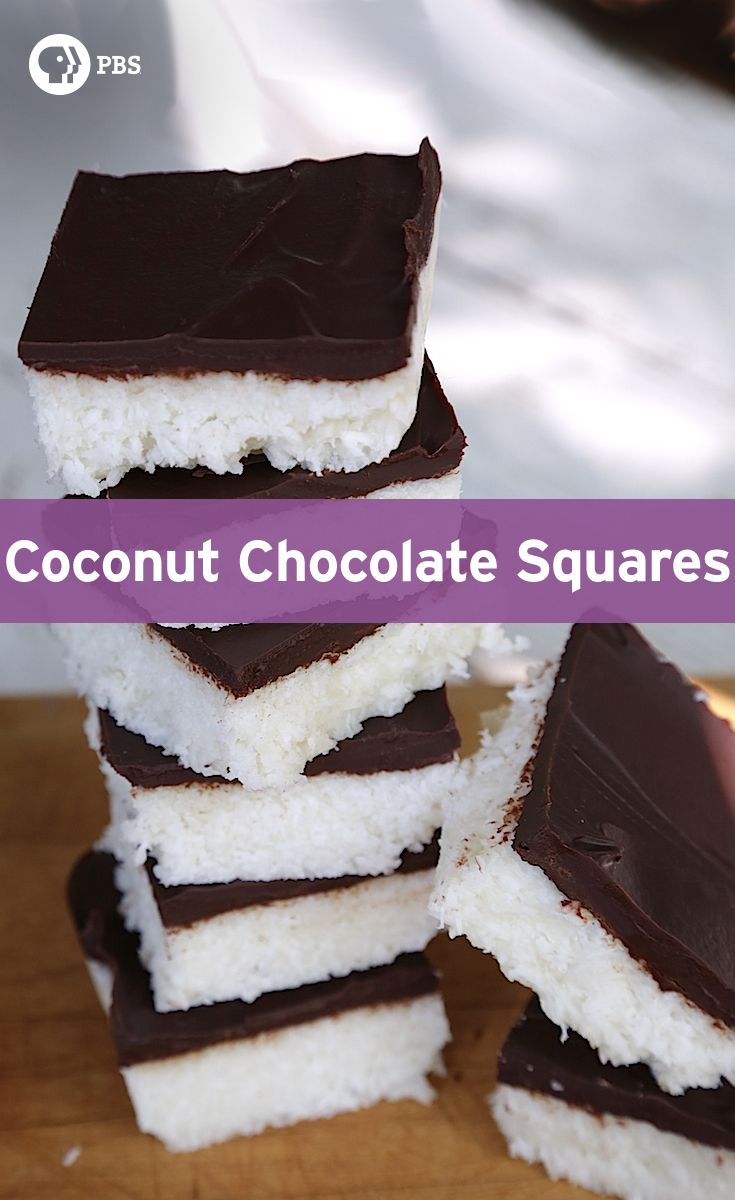 This Coconut Chocolate Squares recipe is a simple dessert only has five ingredients and takes 20 minutes to make!