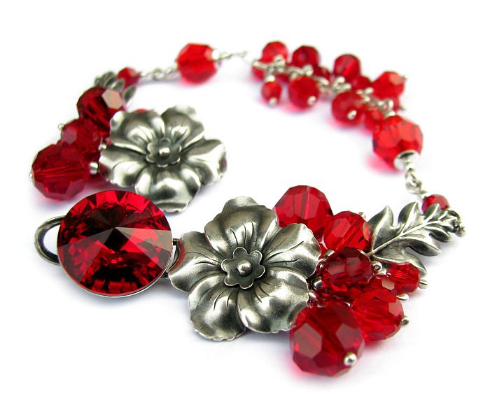 Sterling silver bracelet with flowers, leaves and lots of Swarovski crystals in red, made for my friends wedding / Srebrna bransoletka z kwiatami, liśćmi i mnóstwem kryształów Swarovskiego w czerwieni, na wesele przyjaciółki <3