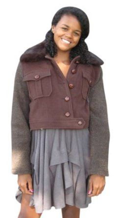 Bergama Wool Jacket with Rabbit Collar and detachable Sheared Rabbit Lining - Medium - Brown Bergama. $99.99