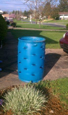 Plastic Barrel Strawberry Planter | 55 Gallon Blue Barrel Strawberry  Planter  Can Plant Herbs In