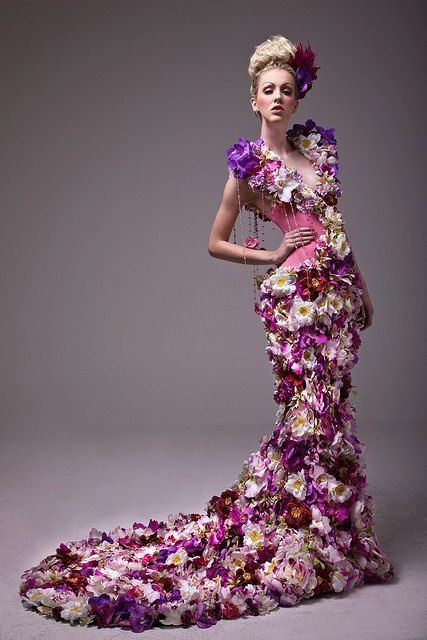 WOW!  Look at this amazing dress, made of flowers!  Seriously...breathtaking!