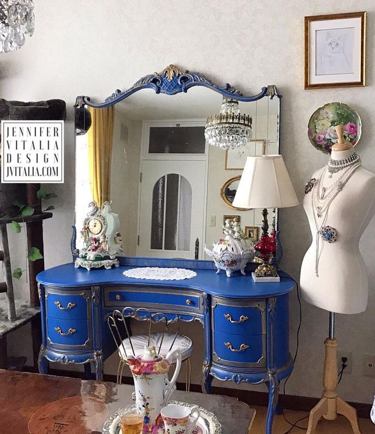 Makeup Vanity Antique Vintage French Queen Anne Style Blue