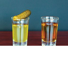 On the left: pickle juice. On the right: Jameson whiskey. Yeah, buddy!!