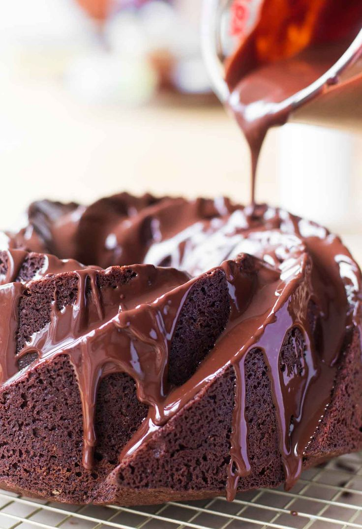 A deep-dark chocolate cake, glazed with bittersweet chocolate. A perfect recipe for chocolate-lovers!