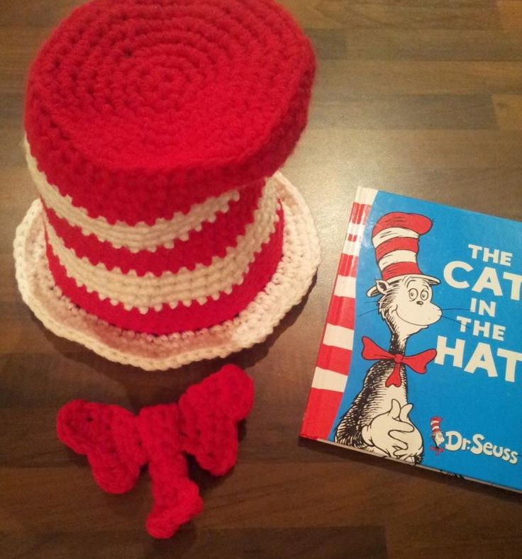 Cat in the Hat (& Bow Tie) FREE Crochet Pattern   This is a very simple and relatively quick project.  After much consideration I have decided against altering the pattern for every size.  It is much simpler to just alter your hook size and the number of strands of chunky yarn you use.  So with the chart provided  you can make a hat to fit the tiniest head or the biggest loaf.