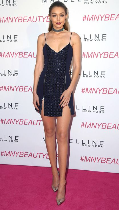 Gigi Hadid in a sexy black David Koma minidress and choker