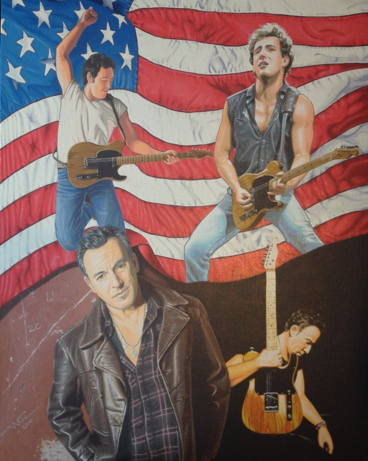 Artist WOZ fine art painting 'Bruce Springsteen' acrylic on canvas 16x20 inch. Limited prints available on request.