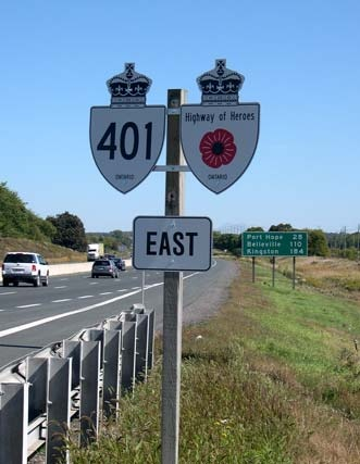 highway of heroes runs from Canadian Forces Base in Trenton, Ontario along the 401 highway to Toronto ... It is the route fallen soldiers take to the coroner's office | Canada OH Canada |