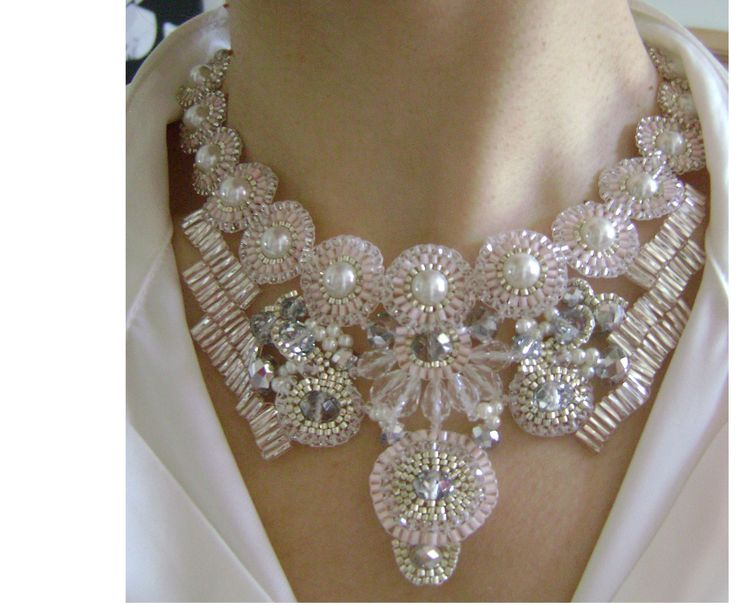 Pale pink and silver Bridal necklace by TiffyDesigns. www.tiffydesigns.com #wedding #bridal #necklace #crystal #pearls #jewelry