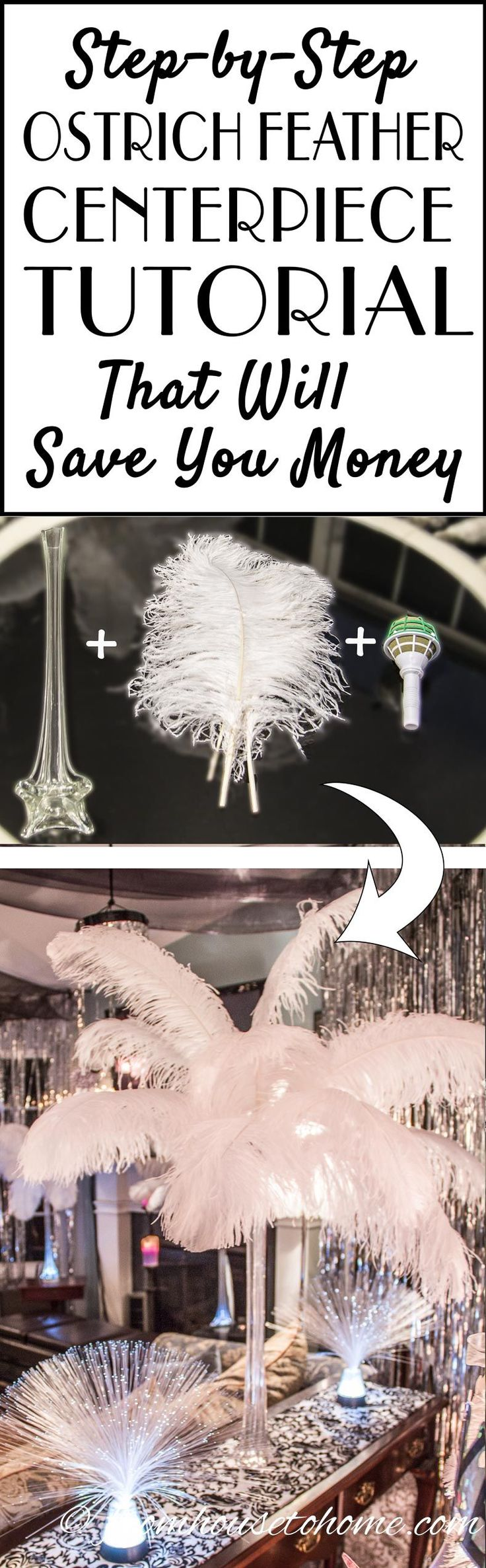 DIY: How To Make Spectacular Ostrich Feather Centerpieces   I have used different variations of these DIY ostrich feather centerpieces instead of floral arrangements at all kinds of wedding receptions and parties...a Great Gatsby party, Winter Wonderland party, 50th birthday party, Mardi Gras party, Valentine's Day party...you get the idea :). They are simple to put together and you will save a lot of money making them yourself! Click through to get the step by step instructions.
