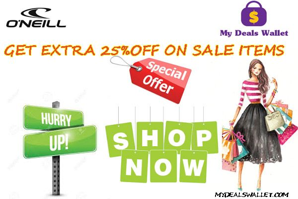 Place Your order now!! Get huge discounts,offers & extra 25% off on orders.Hurry up!! Shop now. For More Visit http://www.mydealswallet.com/store/oneillclothing-coupon-codes.html