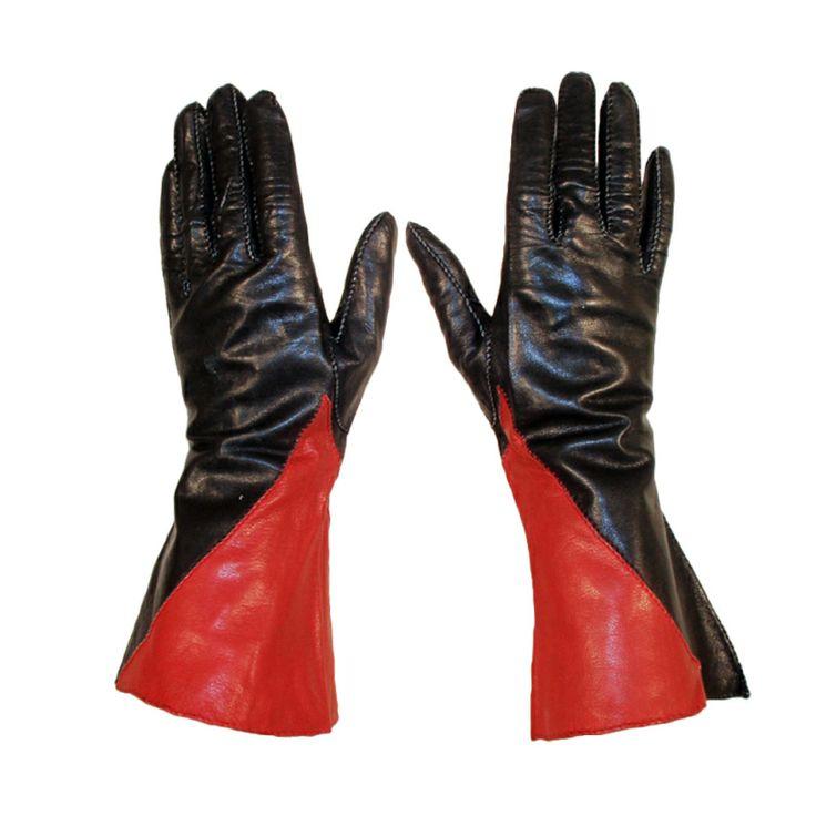 Vintage Red & Black Leather Gauntlet Gloves, c. 1980s