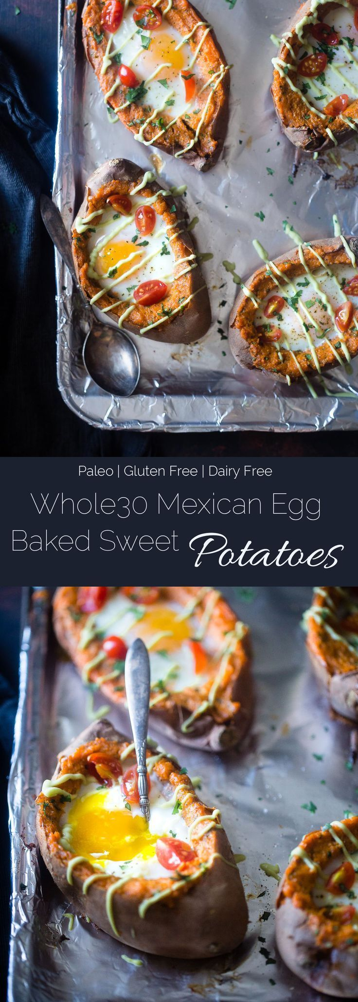 Mexican Stuffed Sweet Potatoes - These Mexican sweet potatoes have a runny egg and a tangy lime avocado sauce! They're a healthy, gluten free and whole30 friendly weeknight meal!