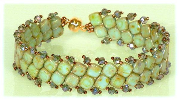 Two-Hole Tuesday Bracelet - pattern:http://beadwork.about.com/od/beadedbracelets/ss/Elegant-Tila-Bead-Bracelet-Free-Beading-Pattern.htm