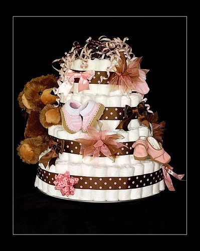 Diaper cake (pink brown polka) 6-08 EMAIL by txsmitty74, via Flickr