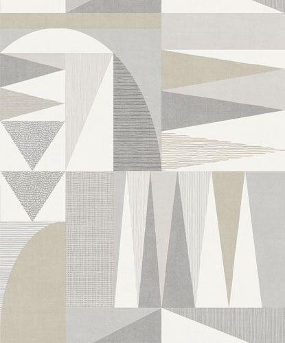 Inspirerande tapeter i retrostil i grått och beige för hemmets alla rum från kollektionen Inspiration 17512. Klicka här för fler fina tapeter till ditt hem!
