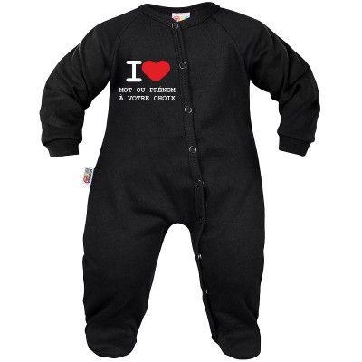 Pyjama bébé personnalisé : I LOVE   prénom ou mot à votre choix à imprimer (7 coloris)