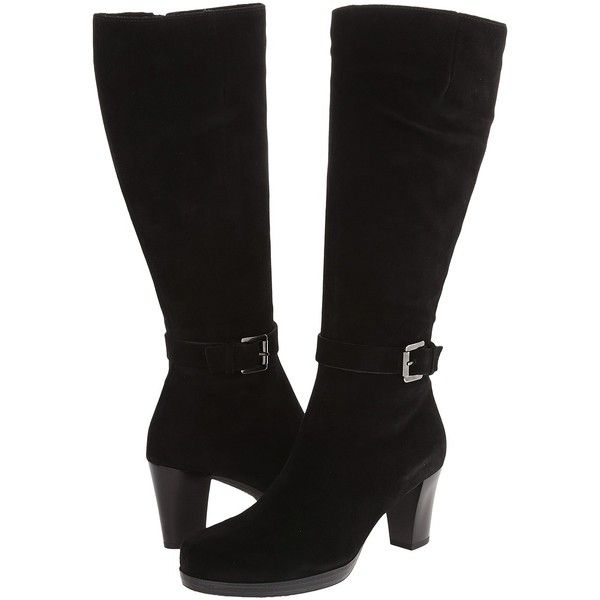 La Canadienne Kit (Black Suede) Women's Boots ($235) ❤ liked on Polyvore featuring shoes, boots, black, knee-high boots, black suede knee high boots, stretchy knee high boots, stretch knee high boots, stretch boots and waterproof suede boots
