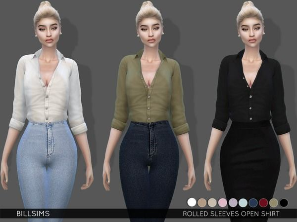 Rolled Sleeves Open Shirt by Bill Sims at TSR • Sims 4 Updates