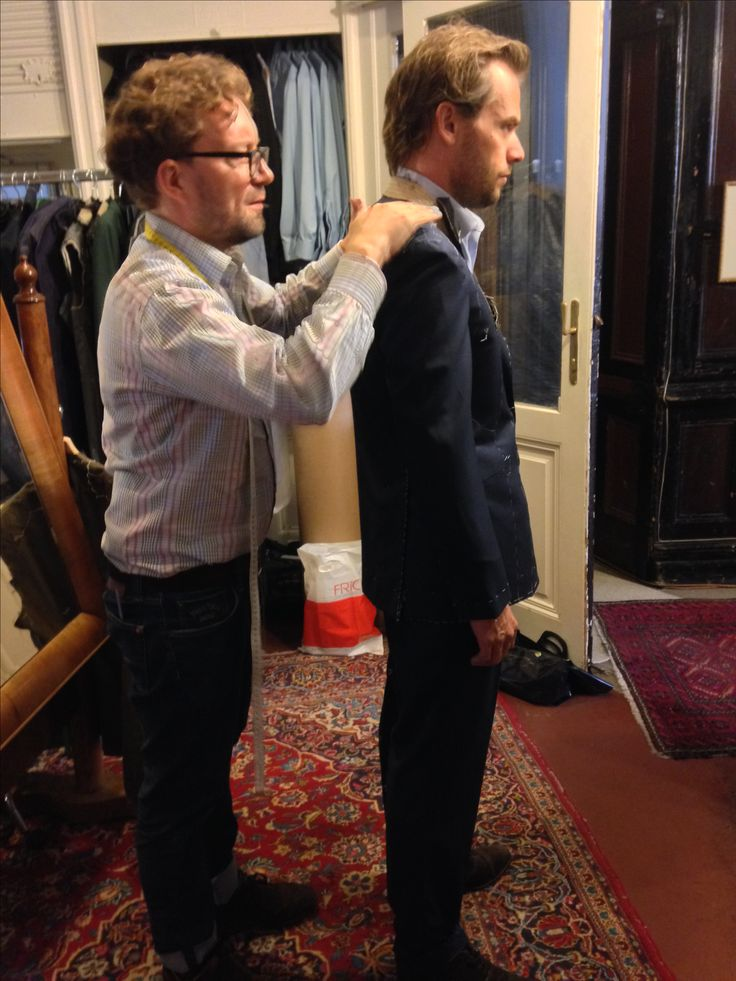 Mr. Magnin is being fitted for his wedding suit. A lovely navy nailhead from Loro Piana.
