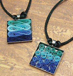 Kamya Craft Supplies Blog - Quilled Jewelry could do using match boxes as the holders and wire as the bail.
