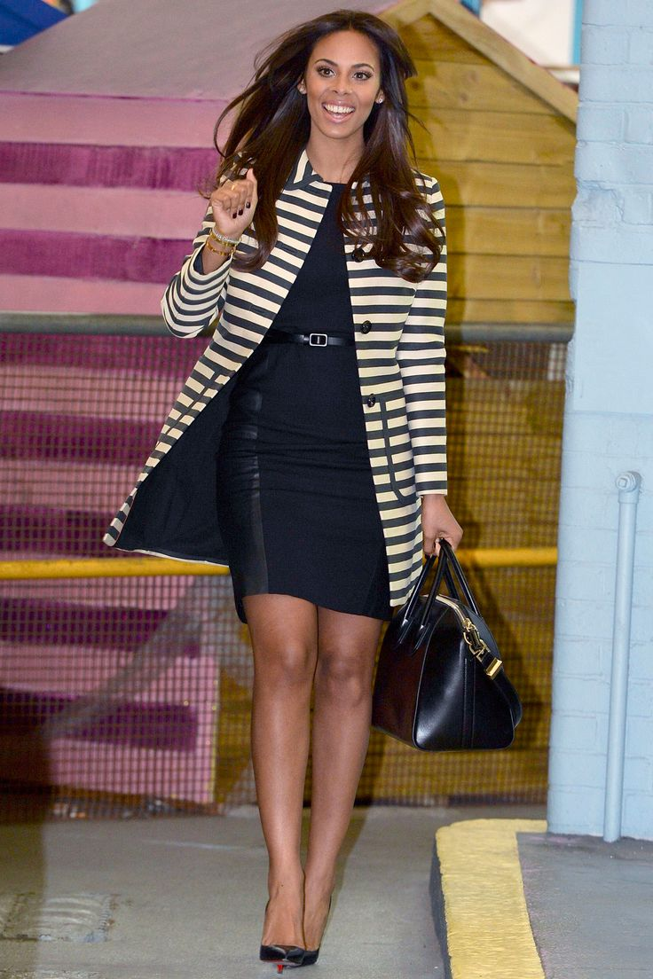 Rochelle Humes Is Super-Sleek In Black And White Stripes Out In London, 2014