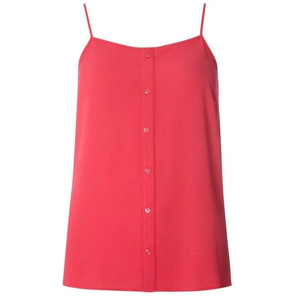 Dorothy Perkins Pink Front Button Camisole Top ($25) ❤ liked on Polyvore featuring tops, pink, cami top, cotton camisole, red cami, red camisole top and red camisole