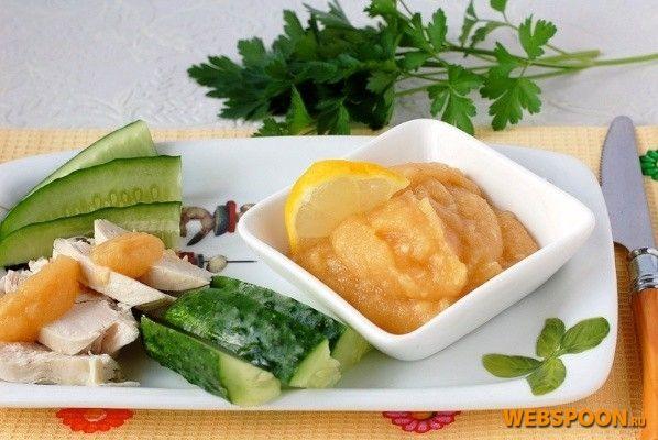«Яблочный соус с хреном»:  Вода 15 млЛимон 50 г  Сахар 1 ст. л.Хрен корень 20 г  Яблоко 4 шт.