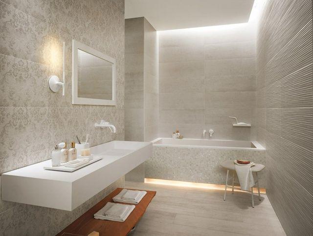 carreaux de salle de bains en gris clair à motifs floraux