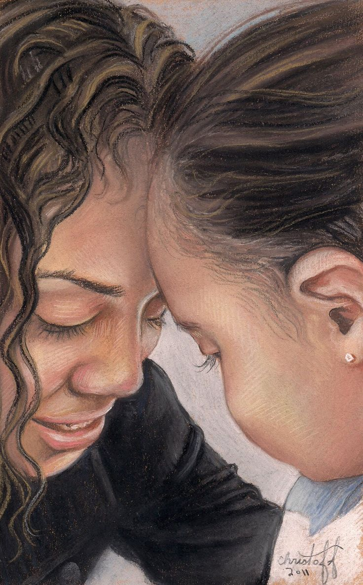 A pastel of mother and daughter: Inspiring artwork from my very first boss ever - back in the year 19 COUGH COUGH