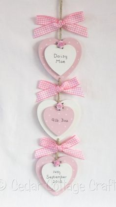 Personalised New Baby birth gift hearts keepsake