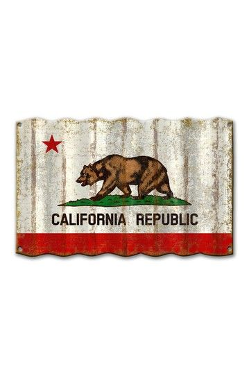 Basement  California Flag Corrugated Sign by Meissenburg Designs on @HauteLook