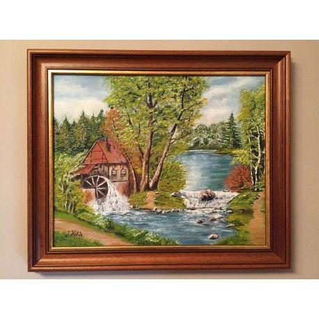 """""""Młyn""""  Olej na płótnie oprawiony w drewnianą Włoską ramę  Wymiary płótna : 40cm x 50cm.  Wymiary z ramą : 50cm x 60cm.  Obraz malowany ręcznie wysokiej jakości farbami, zabezpieczony werniksem."""