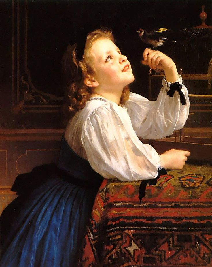 William Adolphe Bouguereau (William Bouguereau) (1825-1905)  L'oiseau Chéri - Dear Bird