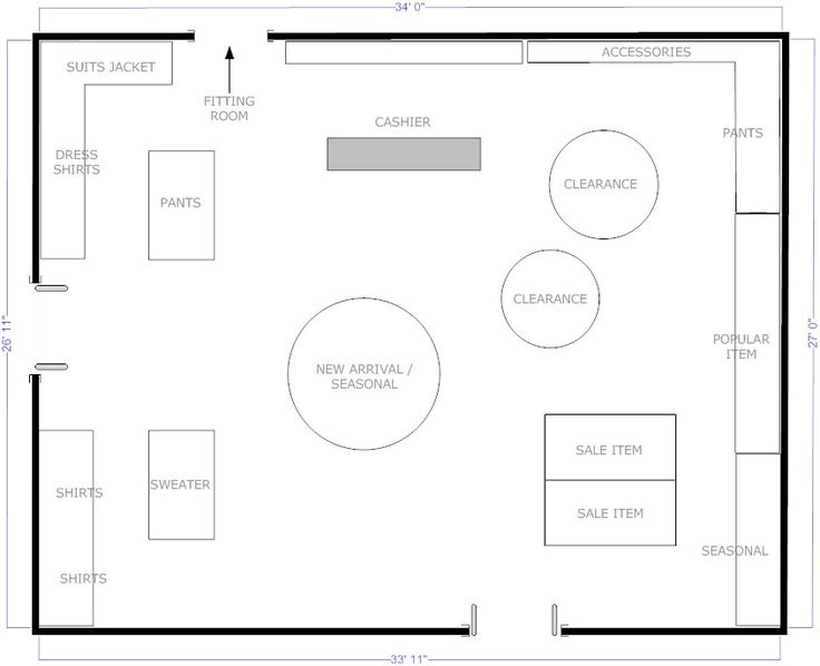 Boutique free flow store layout floor plans pinterest for Retail store floor plan