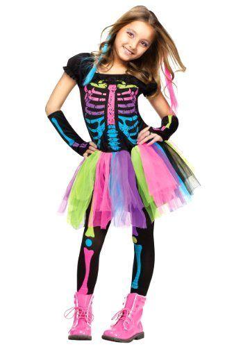 Girls Costume Funky Bones Halloween skeleton Outfit Multicoloured Kids Large #FunWorld
