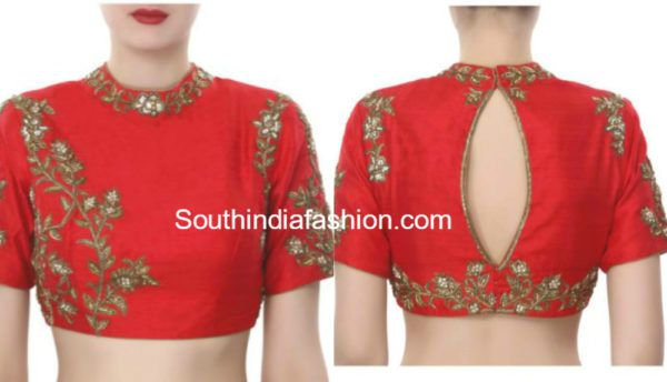 Readymade Embroidered Designer Blouses  Shop Online!     1.Red raw silk high neck zardosi embroidered blouse with back opening. (SHOP HERE)  2.Golden beige full sleeves blouse with sheer neckline and sleeves featuring french knot embroidery. (SHOP HERE)  3. Hot pink raw silk blouse with mirror and cut dana work. (SHOP HERE)  4. Bottle green raw silk blouse with zardosi and resham embroidery. (SHOP HERE)  5. Red raw silk elbow length sleeves blouse with zardosi and resham embroidery. (SHOP…