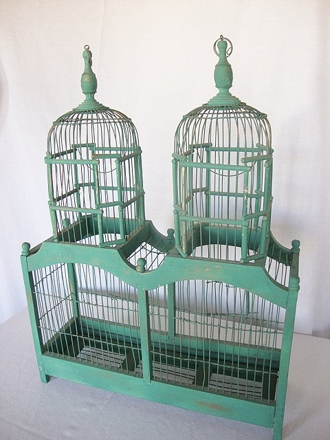 vintage bird cage for my ringed eye doves, I'm, not sure I'd actually use this for birds though.