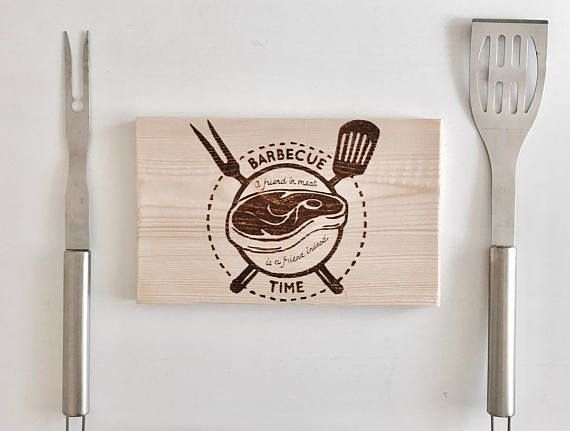 Free shipping Barbecue time kitchen decor wood burning art