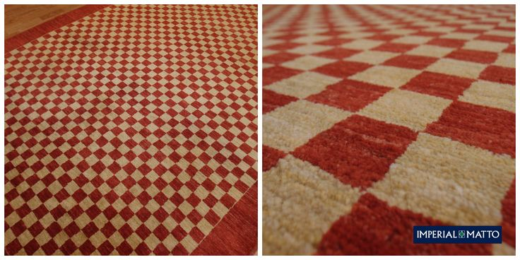 Adriano 44 Chess, Kahdella värillä toteutettu geometrinen malli, matto on kokonaan villaa ja käsityötä. Suunnittelu Dani & Sascha Mishioff. Ref 750. Koko 198 x 298 ckm
