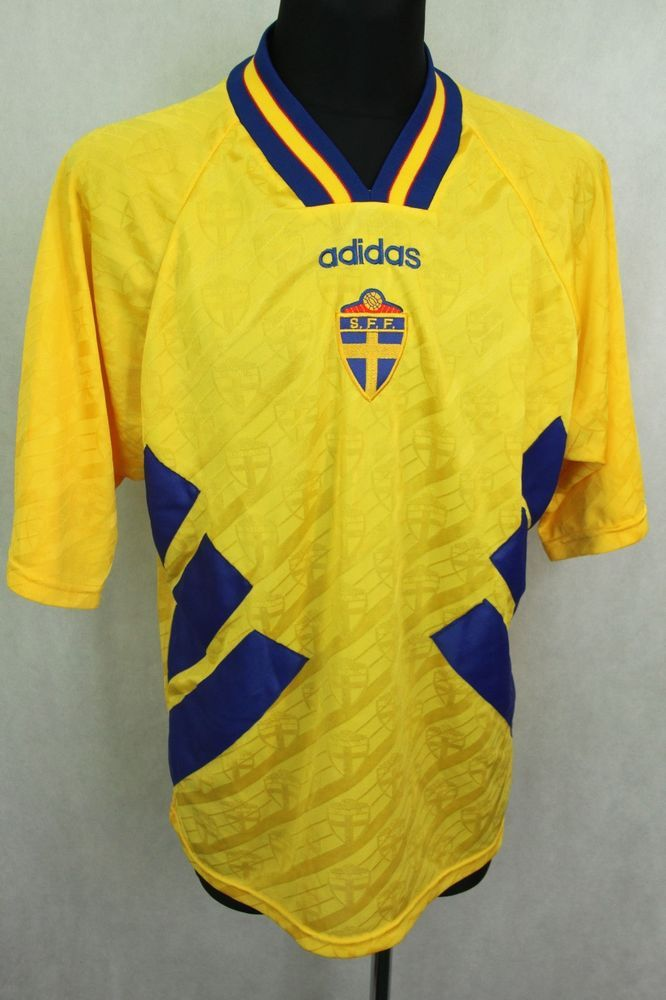 e8ea26db460 ADIDAS SWEDEN FOOTBALL NATIONAL TEAM 1994 1996 HOME JERSEY SHIRT sz XL   adidas
