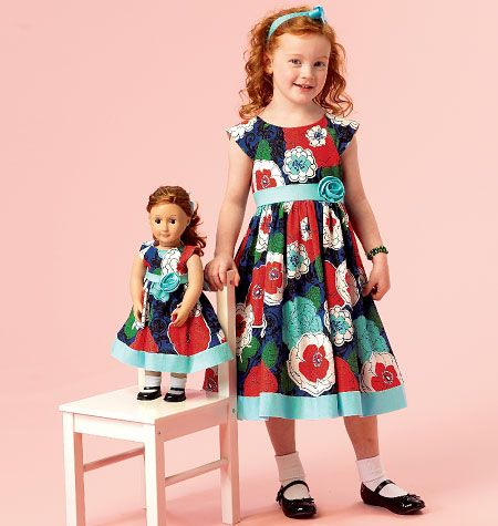 McCall's Pattern M6875 Girls and 18-Inch Doll Dresses - cute pattern.  Pattern review site.