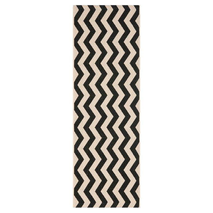 Wels 2'3 X 8' Runner Outer Patio Rug - Black / Beige - Safavieh, Black/Beige, Durable