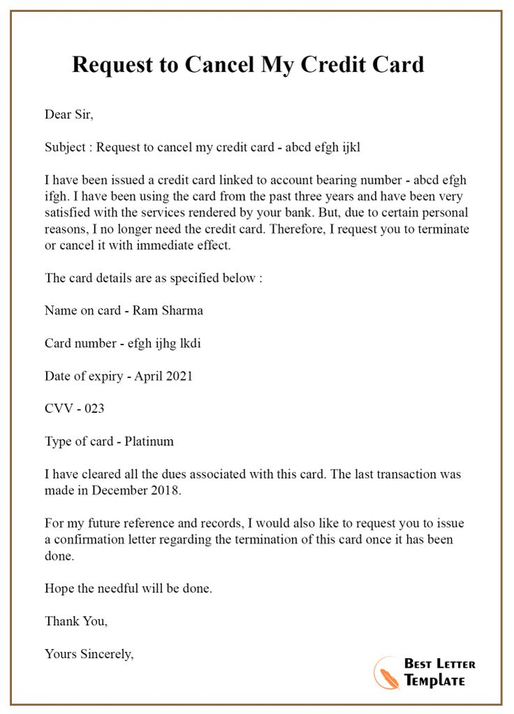 5 sample cancellation letter template for credit card