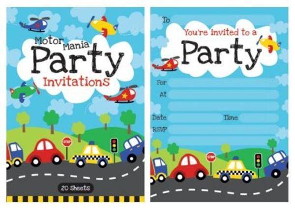 Motor Mania Party Invitation Pad - Invites 20 Sheets